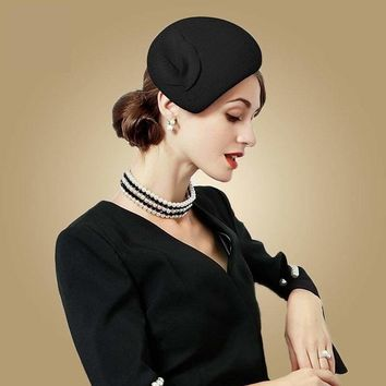 61a802846f613 Black Wool Felt Vintage Cocktail Fashion Pillbox Hat