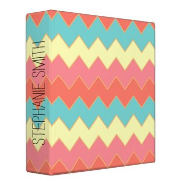 Summery Colorful Zigzag Monogram Binder