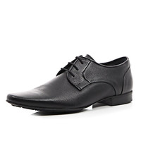 River Island MensBlack textured leather formal lace up shoes