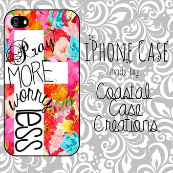 Pray More Worry Less Flowers and Cross Quote Apple iPhone 4 and 5 Hard Plastic or Rubber Phone Case Cover Original Design