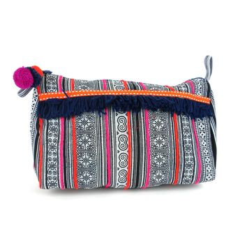 Hmong Batik Toiletry or Makeup Bag Indigo