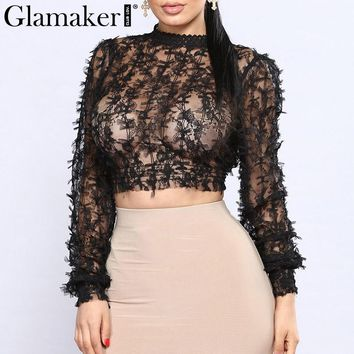 Glamaker Black transparent mesh top tees t-shirt Long sleeve women crop top shirt Sexy hollow out cami crop top women tops party
