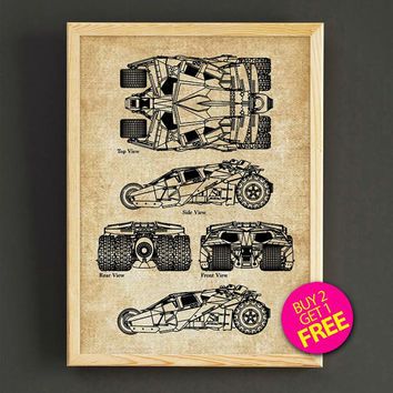 Batman Tumbler Patent Print Batmobile Invention Blueprint Poster House Wear Wall Art Decor Gift Linen Print - Buy 2 Get FREE - 275s2g