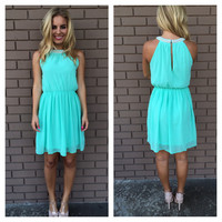 Mint Pearls of Love Sleeveless Dress