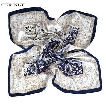 GERINLY 90*90cm Bandana Fashion Brand Scarf Women Polyester Silk Scarf Paisley Design Large Satin Square Scarves Shawl for Lady