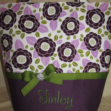 Custom handmade avery flowers purple and green bling Diaper bag you choose name and colors