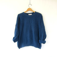 Vintage SLOUCHY sweater. blue knit sweater. cotton women's sweater. baggy blue knit jumper. Preppy oversized sweater. XL