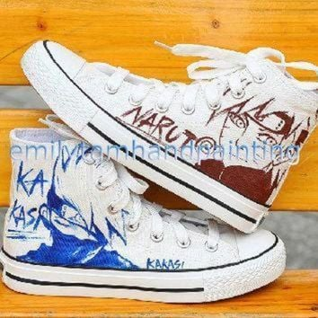 DCCKGQ8 custom converse hand paint kakashi and uzumaki sketch on converse sneakers