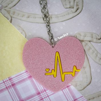 Heartbeat Glitter Pink Necklace