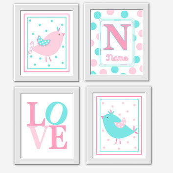 Baby Nursery Wall Art Pink Aqua Blue Birds My Baby Nursery Decor Girls Room Art Bird Nursery Prints  Baby Nursery Decor Baby Girl Prints Art