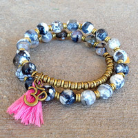 Grounding, Black strip Agate 27 bead wrap mala bracelet™ with Om charm and tassel