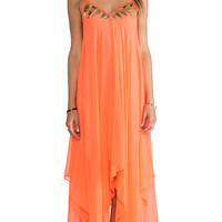 Pia Pauro Pool Neon Afrique Asymmetrical Maxi in Orange