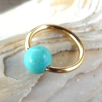 14K Solid Gold Captive Turquoise Septum,Upper Ear Daith Rook,Tragus,Cartilage Hoop Earring,Nose Ring,Eyebrow Piercing