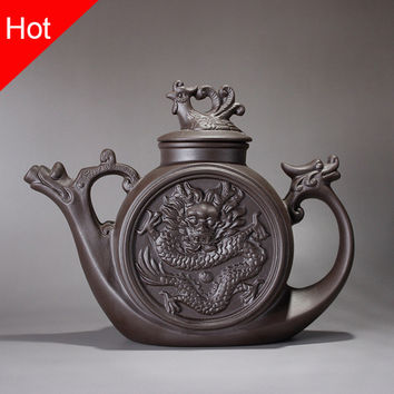 Ceramic teapot,Traditional Chinese Tea pot Dragon and Phoenix Tea kettle Premium tea infuser purple clay tea set,Kung fu teacup