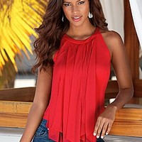 Red (RD) Sheer Fringe Top