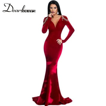 Dear lover Winter 2016 Red Long Sleeve Velvet Party Gown Sexy V Neck Women Elegant Long Dresses Robe De Soiree Longue LC61271