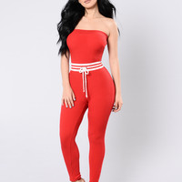 Got Some Of What I Like Jumpsuit - Red