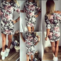 Summer Sexy Long Sleeve Floral Print Dress Bodycon Dress Casual Dress