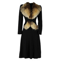 Vintage 1940's Wool and Fur Trimmed Jacket and Dress
