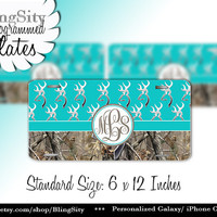 Aqua Teal Monogram License Plate Metal Wall Sign for Auto Car Truck Tags Personalized Custom Vanity Aqua Browning Camo