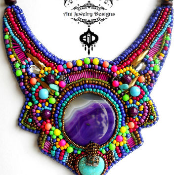 Yoruba tribe, ethnic jewelry, Neon purple pink bronze rainbow beaded bib necklace, purple agate, turquoise, bronze crown, fashion 2016