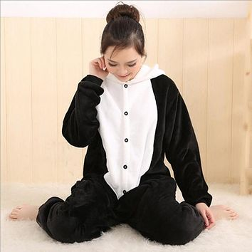 On Sale Women Animal Panda Adult Pajamas Full Sleeve Hooded Soft Flannel Pajama Sets Coral Fleece Pijama Cosplay Animal Pajamas