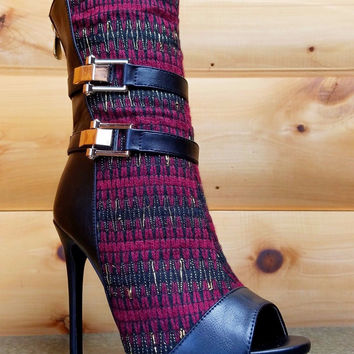 Avery Wine Fabric Gold Weave Open Toe Stiletto Mid Calf Boot 6.5-11 Avery