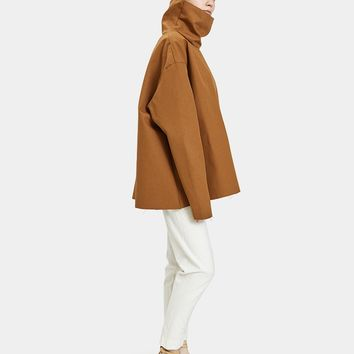Ashley Rowe / Three-Quarter Turtleneck Top in Tan
