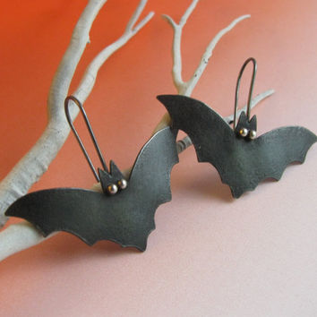 Black Bat Earrings Sterling Silver And Copper Mixed Metal Artisan Goth Jewelry - Bat Jewelry