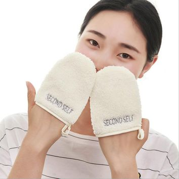 1PC Reusable Face Cleansing Glove Microfiber Facial Cloth Face Towel Makeup Remover Cleansing Tool