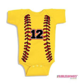 Custom Baby Onesuit One Piece Bodysuit SOFTBALL Player Fan Name and or Number - Sports Fastpitch