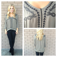 Olive Embroidered Oversize Top