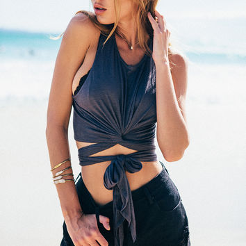 Charcoal Wrap Crop | SABO SKIRT