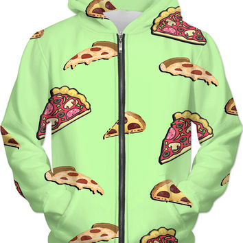 Pizza at lemon green all-over-print hoodie, yummy fastfood themed