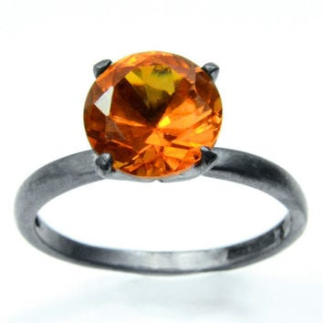 Orange Sapphire Cocktail Ring in Sterling Silver
