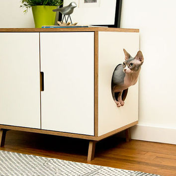 WHITE ~ Standard Cabinet // Mid Century Modern Pet Furniture // Cat Litter Box Cover // Pet House // Side Table