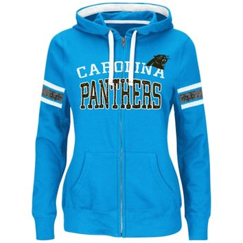 Women's Carolina Panthers Majestic Panther Blue Pure Heritage VI Full Zip Pullover Hoodie
