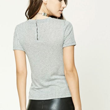 Marled Ribbed Knit Top