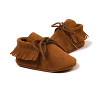 2016 new Romirus Pink lace-up winter baby Pu leather infant suede boots first walkers Baby Moccasins Newborn princess baby shoes