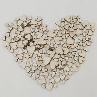 100PCS New DIY 4 Sizes Mixed Rustic Wooden Love Heart Wedding Table Scatter Decoration
