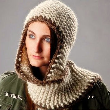 Sale 15 Off  Hand Knit Hat  The Garter Nomad Scarf by pixiebell