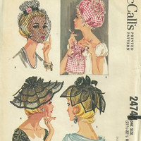 McCall's 2474 Three Hats Nightcap Curler Bag Vintage 1960s Sewing Pattern Rare Retro Millinery Designer Fashion One Size