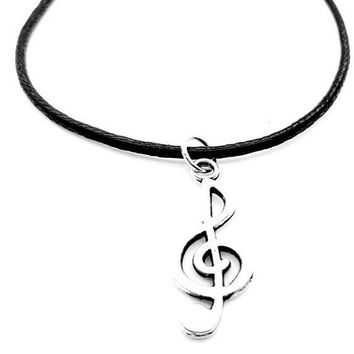 Fashion Trendy Alloy Note Music Notation Pendant Necklace