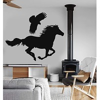 Vinyl Wall Decal Bird Horse Wild Animals Falcon Stickers Mural Unique Gift (ig022)