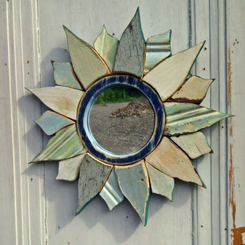 Sunburst Mirror, Reclaimed Wood Art, Round Starburst Mirror, Recycled Wood Mosaic Wall Art, Reclaimed Wood Mirror
