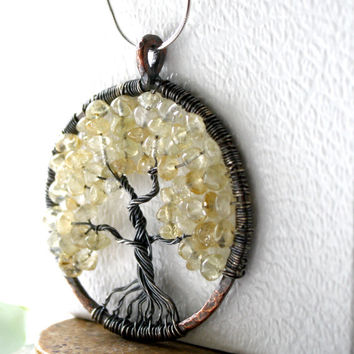 Tree of Life Necklace, Champange Citrine Tree Of Life, November Birthstone, Family Tree Necklace
