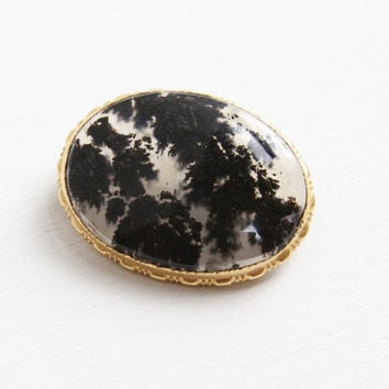 Vintage 10k Yellow Gold Filled Black Moss Agate Pin - 1930s Art Deco Oval Stone Brooch Jewelry Hallmarked Uncas