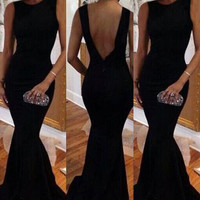 Black Backless Mermaid Dress
