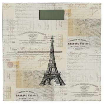 Paris Vintage French Writing Bathroom Scale