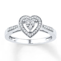 Heart Promise Ring 1/5 ct tw Diamonds Sterling Silver